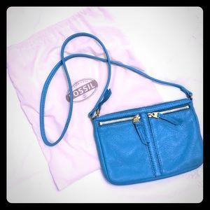 Fossil leather Crossbody purse turquoise EUC